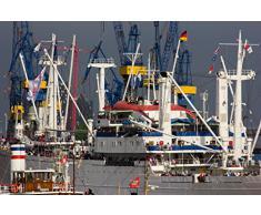 """Fertig gerahmtes Leinwandbild auf Keilrahmen: """"Hamburg Maritim - Die Cap San Diego im Hamburger Hafen"""" - Leinwandbilder, Leinwanddrucke, Keilrahmenbilder, Wandbilder, Bilder (30 x 20 cm)"""