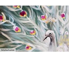 KunstLoft® Acryl Gemälde Glanz des Pfaus 90x60cm   original handgemalte Leinwand Bilder XXL   Pfau Rad in Türkis   Wandbild Acrylbild moderne Kunst einteilig mit Rahmen