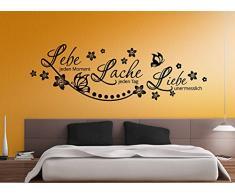 Grandora W870 Wandtattoo Zitat Lebe.. Lache.. Liebe.. + Schmetterlinge und Blumen weiß 152 x 58 cm