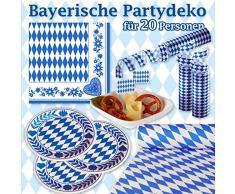 Partydeko Set Bayerisch feiern XXL - weiss blau Bayern Dekoration - für 20 Personen