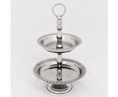 Casa Padrino Designer Etagere 2-Stufig Nickel Finish Höhe 18 cm, Durchmesser 11 cm - Servierschale - Deko Schale