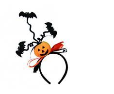 Halloween Haarreifen mit Kürbis und Fledermaus Horror-Grusel-Party-Deko