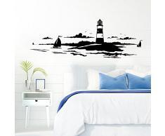 Grandora Skyline Küstenlandschaft Leuchtturm I schwarz 120 x 42 cm I Bad Wohnzimmer Schlafzimmer Aufkleber Wandaufkleber Wandsticker Modern W974
