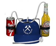 Trinkhelm mit Aufdruck - GLÜCK AUF - (51674 blau) Trinkerhelm Dosenhelm Party - Gelsenkirchen Schalke Ruhrgebiet Region