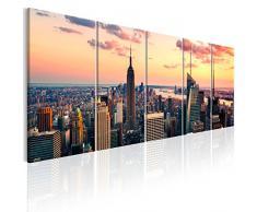 murando - Bilder New York 225x90 cm Vlies Leinwandbild 5 TLG Kunstdruck modern Wandbilder XXL Wanddekoration Design Wand Bild - Skyline NYC Stadt City d-B-0200-b-m