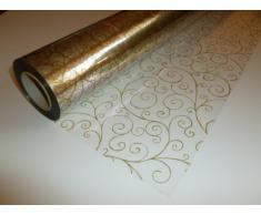 Zellophanfolie mit goldfarbenen Schnörkeln, 10 m x 80 cm, durchsichtig Blumenfolie / Geschenkfolie / Geschenkkorbverpackung