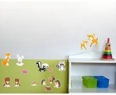 15-teiliges Süße Waldtiere Wandtattoo Set Kinderzimmer Babyzimmer