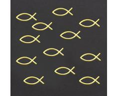 Oblique-Unique® 25 x Fische in Gold für Kommunion Taufe als Deko Streuteile Tischdeko Streudeko