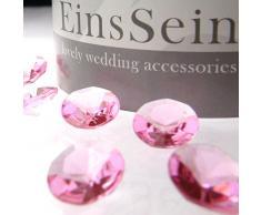 EinsSein 1000x Diamantkristalle 12mm rosa Dekoration Streudeko Konfetti Tischdeko Hochzeit Diamanten Diamant Glas groß Geburtstag