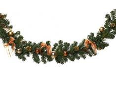HEITMANN DECO Tannengirlande für innen - Weihnachtsgirlande Dekogirlande Girlande Weihnachten - natürliche Dekoration - Grün, Kupfer
