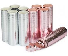 com-four® 10 Rollen Luftschlangen, Deko Luftschlangen in silberfarben und rosa (10 Stück - metallic)