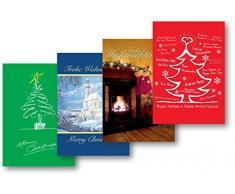 Weihnachtskarten 5er-Pack:Baum rot/grün/Kamin/Kirche