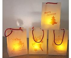 LED Kerzen mit Geschenktüte Weihnachten 4er Set