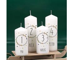 Herz & Heim® Adventskerzen Set mit Aufdruck - 4 Stück - Einzigartige Dekorationsidee für Ihren Adventskranz oder das Adventsgesteck Modern