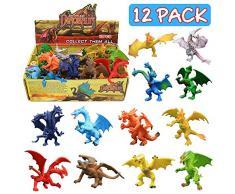 Spielzeuge in Form von Drachen, 12 Stücke ausgewählte Drachenfiguren, Mini-Drachenset 4 inch, mit geschenktem Box, Tierwelt, ungiftiges und sicheres Material AB,Spielzeuge für Jungs und Kinder