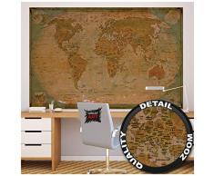 GREAT ART XXL Poster – Historische Weltkarte – Wandbild Dekoration Globus Antik Vintage World Map Used Atlas Landkarte Old School Wandposter Fotoposter Wanddeko Bild(140 x 100 cm)