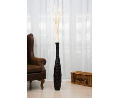 Leewadee Große Bodenvase für Dekozweige hohe Standvase Design Holzvase 90 cm, Mangoholz, schwarz