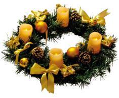 Best Season Adventskranz mit 4 Wachs-LED-Kerzen, Durchmesser circa 40 cm, warm weiß LED, batteriebetrieben inklusiv Batterien, Sichtkarton, elfenbein / gold Dekoration 004-55