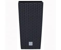 Prosperplast Rattan Blumentopf 26,6 L Anthrazit Übertopf Innen Außen mit Innenkasten wetterfest, schwarz, 26,5 x 26,5 x 50 cm, DRTS265-S433