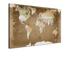 LANA KK - Leinwandbild Weltkarte Oldstyle Weltkarte - deutsch - Kunstdruck-Pinnwand auf Echtholz-Keilrahmen – Globus in braun, einteilig & fertig gerahmt in 120 x 80 cm