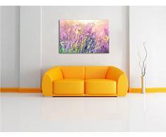 Schmetterlinge auf Lavendelblumen Kunst Pinsel Effekt, Format: 120x80 auf Leinwand, XXL riesige Bilder fertig gerahmt mit Keilrahmen, Kunstdruck auf Wandbild mit Rahmen, günstiger als Gemälde oder Ölbild, kein Poster oder Plakat