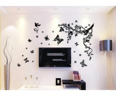 Walplus Wandtattoo, Motiv Baum mit Blüten + Schmetterlinge