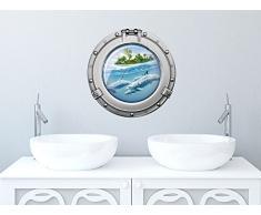 Graz Design 651022_30 Wandsticker Sticker Wandaufkleber für Badezimmer Bullauge Delfine Insel Wasser (Größe=30x30cm)