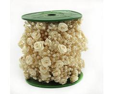 30M/Roll Rosen Perlenband Perlenkette Perlengirlande Perlenschnur Hochzeit Schmuckband Deko Perlen Tischdeko Elfenbein