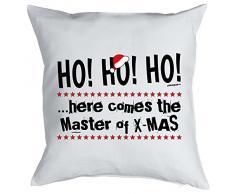 Weihnachten Geschenk Idee Kissen mit Innenkissen - Master of Xmas Advent lustig Deko 40x40cm weiß : )