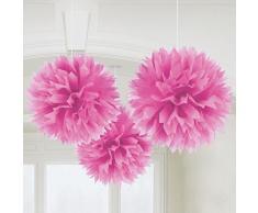 Papier Pompoms Pink Weiß Pompom Seidenpapier Hochzeit Deko Girlande 25 cm, Farbe:Pink