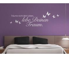 Grandora W773 Wandtattoo Zitat Träume nicht dein Leben,... + Schmetterlinge Schlafzimmer Wohnzimmer silbergrau 120 x 35 cm