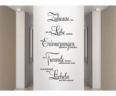 Grandora® W1124 Wandtattoo Spruch Zuhause ist wo die Liebe wohnt.. dunkelgrau 58 x 107 cm