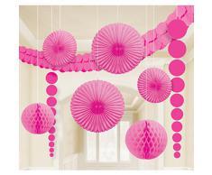 XL Dekoration pink für Party Hochzeit Geburtstag 9 tlg. Girlanden Partydeko