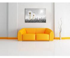 Pusteblumen auf Wiese schwarz/weiß Format: 100x70 auf Leinwand, XXL riesige Bilder fertig gerahmt mit Keilrahmen, Kunstdruck auf Wandbild mit Rahmen, günstiger als Gemälde oder Ölbild, kein Poster oder Plakat