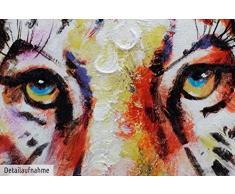 KunstLoft® Acryl Gemälde Königstiger 75x100cm   original handgemalte Leinwand Bilder XXL   Tiger Beige Deko   Wandbild Acrylbild moderne Kunst einteilig mit Rahmen