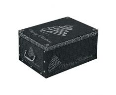 3 Stück XXL Dekokarton in Schwarz - formschön und hochwertig. Mit Einsätzen für max. 40 Christbaumkugeln oder Weihnachtsdeko. Karton aus stabiler Pappe in Schwarz mit Griffen aus Kunststoff! Topp