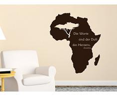 Graz Design 630047_57_080 Wandtattoo Landkarte Afrika mit afrik. Spruch Wand Aufkleber Deko fr Wohnzimmer 68x57cm Braun