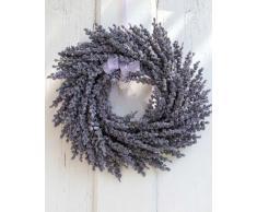Deko Lavendelkranz auf Rattan, violett, Ø 25 cm - Künstlicher Kranz / Türkranz - artplants