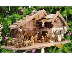 Weihnachtskrippe, Ölbaum KA70du-MF-SKR- XXL Holz-Weihnachtskrippe, mit GRANITBRUNNEN Wassergrand + PREMIUM-DEKOSET Krippenstall, Massivholz NATUR gebrannt - mit 12 x PREMIUM- Krippenfiguren + Engel mit goldenen Flügeln -