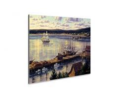 Alu Dibond Wandschild Maritime Deko Bild Hafen Schiffe Antik Platte DIN A4