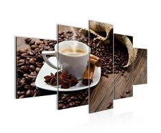 Bilder Küche Kaffee Wandbild Vlies - Leinwand Bild XXL Format Wandbilder Wohnzimmer Wohnung Deko Kunstdrucke Braun 5 Teilig - MADE IN GERMANY - Fertig zum Aufhängen 501853a