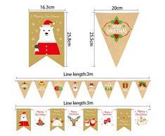 O-Kinee Girlande Weihnachten, 4 Stücke Weihnachtsgirlande,Weihnachten Papier Banner, Niedliche Weihnachtsdeko Hangedekoration für Schaufenster Fenster Wand Kinderzimmer Party Deko (Gold weiß)