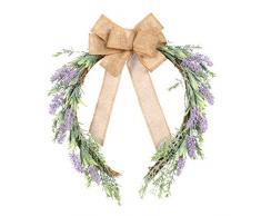 VOSAREA Künstlicher Lavendelkranz Rattan Leinen Bowknot Lavendel Tür Girlande Hängende Wandkränze für Ladenbalkon nach Hause (Violett)