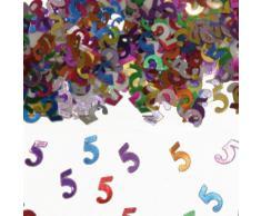 Bunt glitzerndes Konfetti mit Geburtstagszahl: 5 // Tüte mit 15g (ca. 1000 einzelne Konfettis) // Deko Tischdeko Jubiläum Zahlenkonfetti Metallkonfetti Streukonfetti fünfter Geburtstag Birthday Kinder Kindergeburtstag