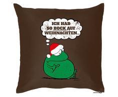 Weihnachten Deko Kissen mit Innenkissen - WEIHNACHTSMUFFEL GEGNER Advent Geschenk Idee 40x40cm braun : )