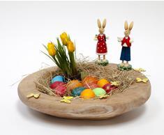 Teak Frühlingskranz rund Ø 35 cm mit Kerzenpick Wurzelschale Holzschale Teakschale Dekoschale Osterdeko