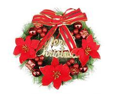 Künstlicher Weihnachtskranz Ø 30cm, Hukz Hängende Türkranz Weihnachtsbaum Ornamente für Haustür Deko Winter Haus Dekoration, Deko-Kranz Weihnachten Tannenkranz Adventskranz Weihnachts Weihnachtsdeko