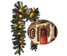 Künstliche LED Weihnachtsgirlande Tannengirlande Lichterkette Girlande mit 40 warm-weißen LEDs 270cm für Innen + Aussen Weihnachtsdekoration Weihnachtsschmuck Fensterdekoration Türdekoration
