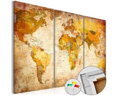 SENSATIONSPREIS 120x80 cm ! Neuheit! Weltkarte mit Kork Rückwand - Bild auf Vlies-Leinwand - 3 Teilig - Bilder - Leinwandbild Poster Pinnwand Kunstdruck Weltkarte Kontinent Welt Landkarte Karte k-B-0020-p-a 120x80 cm B&D XXL