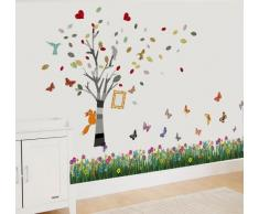 Walplus Wand Sticker Schmetterling Gras Bilderrahmen Abnehmbare Selbstklebend Wandkunst Aufkleber Vinyl Heim Dekoration DIY Wohnzimmer Schlafzimmer Büro Dekor Tapete Kinderzimmer Geschenk, Mehrfarbig